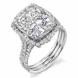 Natural 5.32 CTW Elongated Cushion Cut Halo Diamond