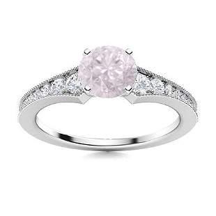 Natural 1.66 CTW Rose Quartz & Diamond Engagement Ring