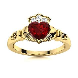 Natural 0.65 CTW Garnet & Diamond Engagement Ring 14K