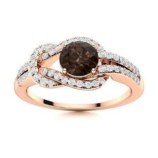 Natural 0.90 CTW Smoky Quartz & Diamond Engagement Ring