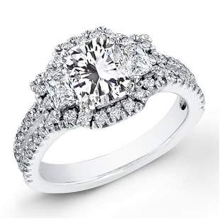 Natural 3.35 CTW Radiant Cut Diamond Engagement Ring