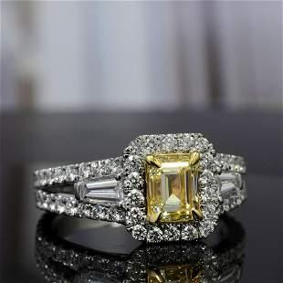 Natural 2.12 CTW Canary Yellow Halo Emerald Cut Diamond