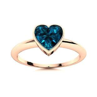 Natural 0.54 CTW Topaz Solitaire Ring 18K Rose Gold