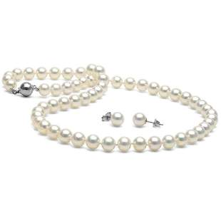 White Akoya Pearl 2-Piece Necklace and Earring Set,