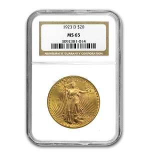 1923-D $20 Saint-Gaudens Gold Double Eagle MS-65 NGC