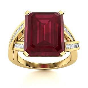 Natural 6.72 CTW Ruby & Diamond Engagement Ring 18K
