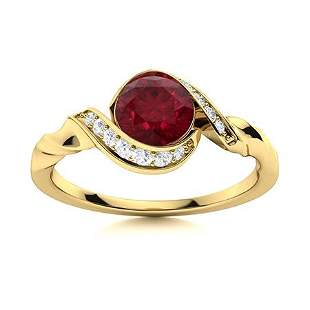 Natural 1.16 CTW Ruby & Diamond Engagement Ring 18K