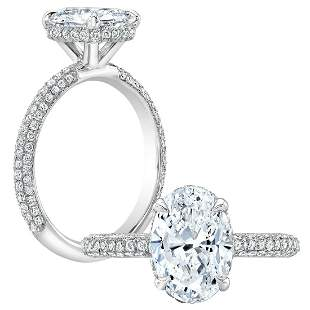 Natural 1.87 CTW Under-Halo Oval Cut Pave Diamond