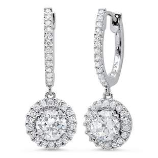 Natural 2.52 CTW U-Pave Lever Back Halo Round Cut