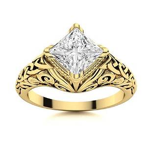 Natural 1.01 CTW Diamond Solitaire Ring 18K Yellow Gold