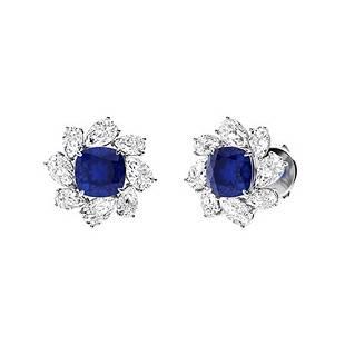 6.44 CTW Sapphire & Diamond Halo Earrings 18K White
