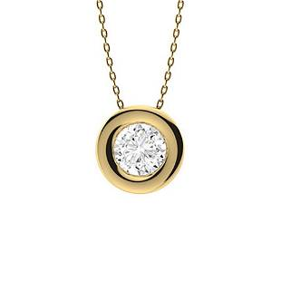 0.82 ctw Moissanite Necklace 18K Yellow Gold