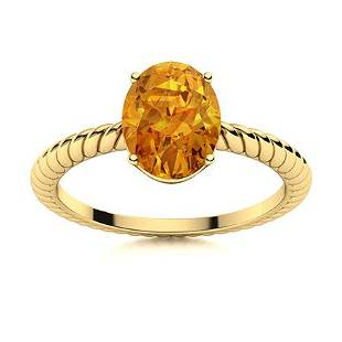 Natural 2.12 CTW Citrine Solitaire Ring 14K Yellow Gold