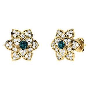 0.58 CTW Blue Diamond Halo Earrings 18K Yellow Gold