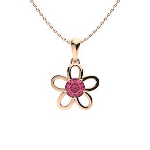 1.03 ctw Pink Sapphire Necklace 14K Rose Gold
