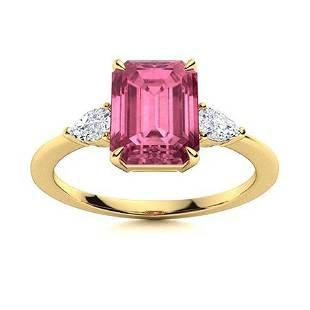 Natural 1.31 CTW Tourmaline & Diamond Engagement Ring