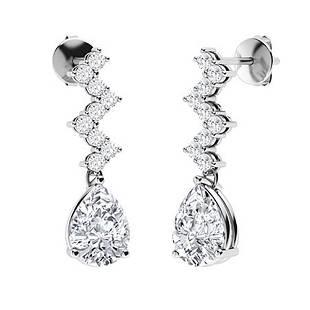 0.96 CTW Diamond & Diamond Drops Earrings 14K White