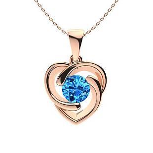 1.06 ctw Sky blue Topaz Necklace 18K Rose Gold