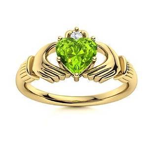 Natural 1.54 CTW Peridot & Diamond Engagement Ring 18K