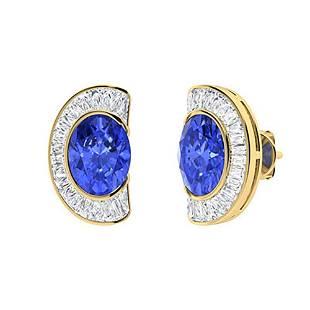 3.38 CTW Ceylon Sapphire & Diamond Halo Earrings 18K