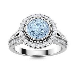 Natural 1.79 CTW Aquamarine & Diamond Engagement Ring