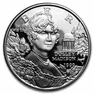 1999-P Dolley Madison $1 Silver Commem Proof (w/Box &