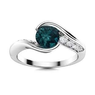 Natural 1.22 CTW Blue & White Diamond Engagement Ring