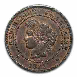 1872-A France 5 Centimes MS-63 PCGS (Brown)