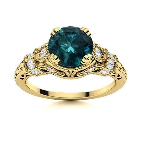 Natural 1.85 CTW Blue & White Diamond Engagement Ring