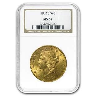 1902-S $20 Liberty Gold Double Eagle MS-62 NGC