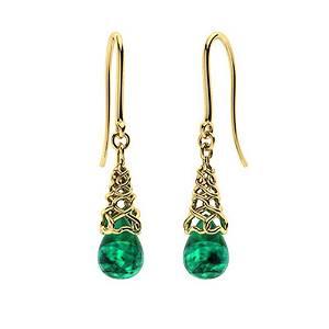 1.38 CTW Emerald Drops Earrings 18K Yellow Gold