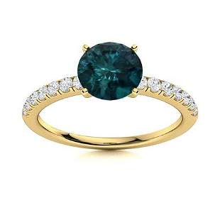 Natural 1.52 CTW Blue & White Diamond Engagement Ring