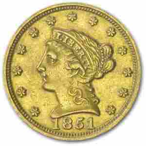 1851 $2.50 Liberty Gold Quarter Eagle AU