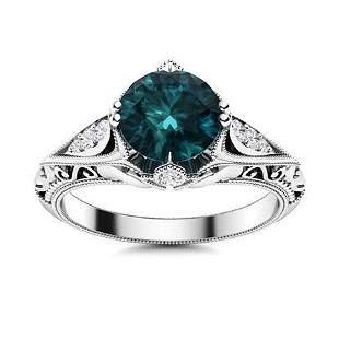 Natural 1.99 CTW Blue & White Diamond Engagement Ring