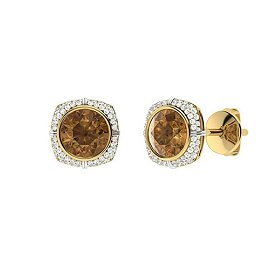 3.09 CTW Brown Diamond & Diamond Halo Earrings 18K