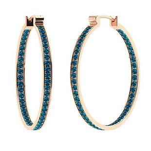 0.94 CTW London Blue Topaz Hoops Earrings 14K Rose Gold