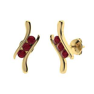 0.28 CTW Ruby Halo Earrings 18K Yellow Gold