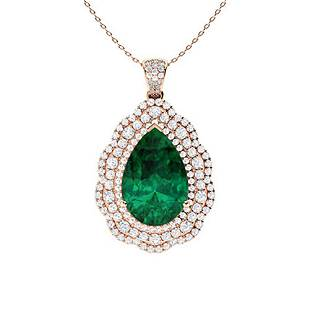 6.36 ctw Emerald & Diamond Necklace 14K Rose Gold