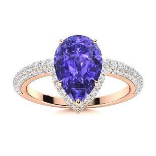 Natural 2.14 CTW Tanzanite & Diamond Engagement Ring