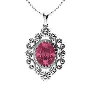 2.04 ctw Pink Tourmaline Necklace 14K White Gold