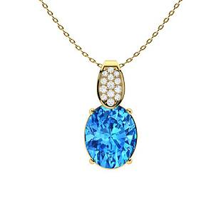 3.19 ctw Topaz & Diamond Necklace 18K Yellow Gold
