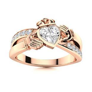 Natural 1.02 CTW Diamond Solitaire Ring 14K Rose Gold
