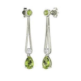 2.82 CTW Peridot Drops Earrings 18K White Gold