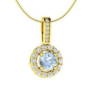 0.64 ctw Aquamarine & Diamond Necklace 18K Yellow Gold