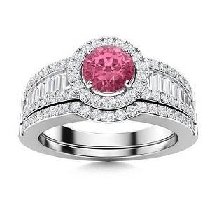 Natural 1.39 CTW Tourmaline & Diamond Engagement Ring