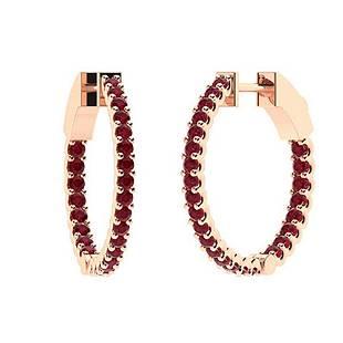 0.41 CTW Ruby Hoops Earrings 14K Rose Gold