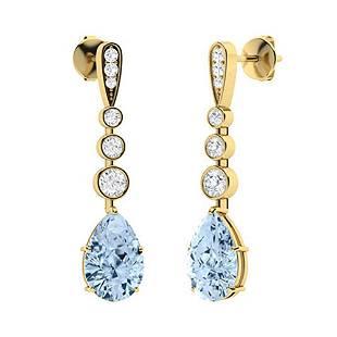 1.67 CTW Aquamarine & Diamond Drops Earrings 18K Yellow