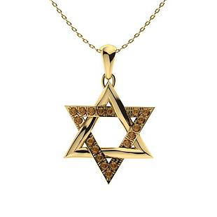 0.27 ctw Brown Diamond Necklace 18K Yellow Gold
