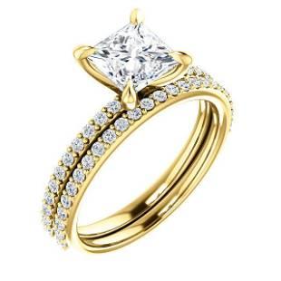 Natural 1.72 CTW Princess Cut Diamond Engagement Set