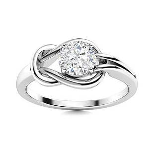Natural 0.62 CTW Diamond Solitaire Ring 18K White Gold